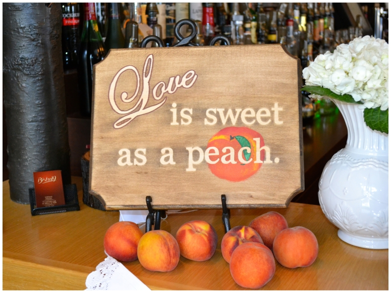 love is sweet as a peach sign