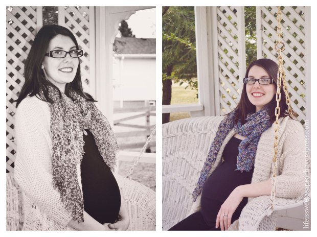 Maternity photo taken on porch swing.