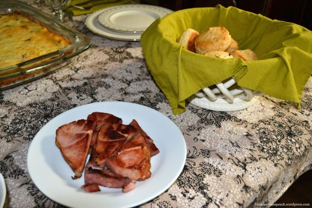 pan-seared ham and biscuits with honey butter
