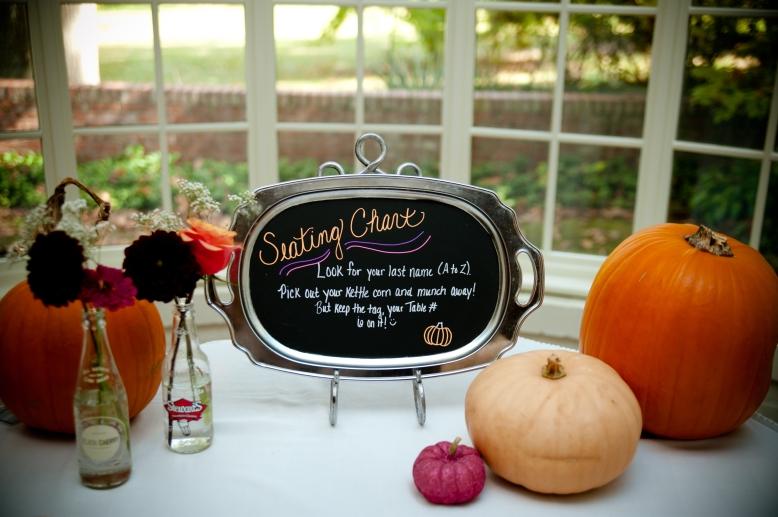 chalkboard seating chart pumpkins
