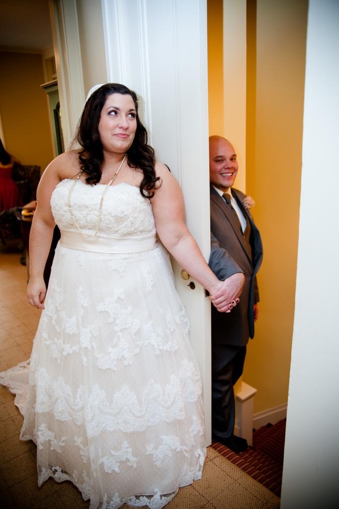 first look wedding photo sneak