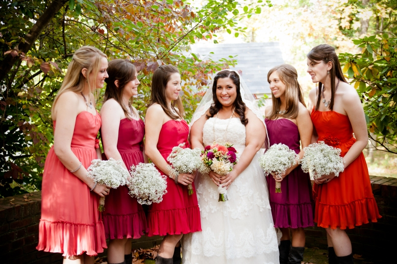 colorful bridesmaid dresses and cowboy boots