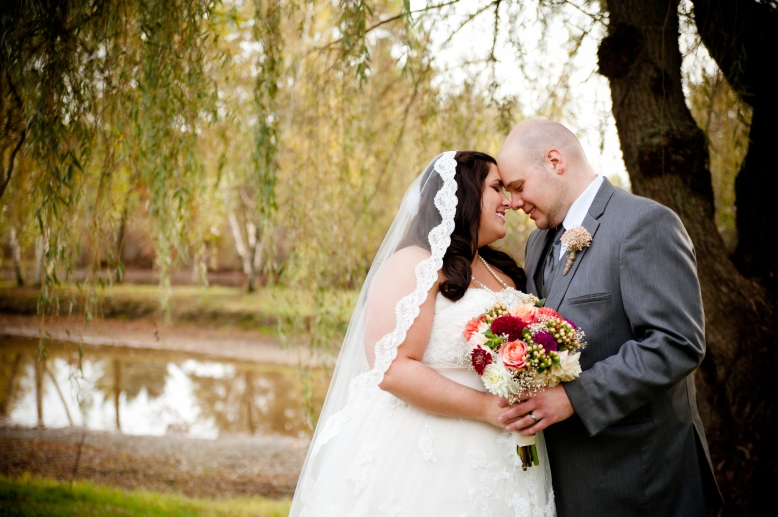 bride lace veil with groom under willow tree succop