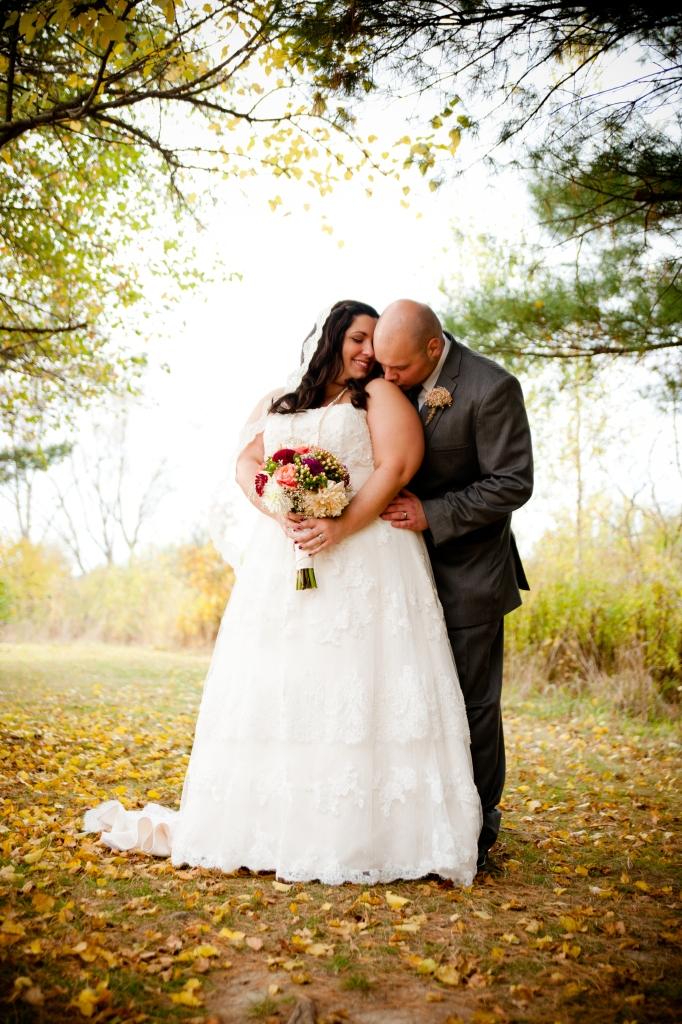 rustic wedding bride groom with fall leaves