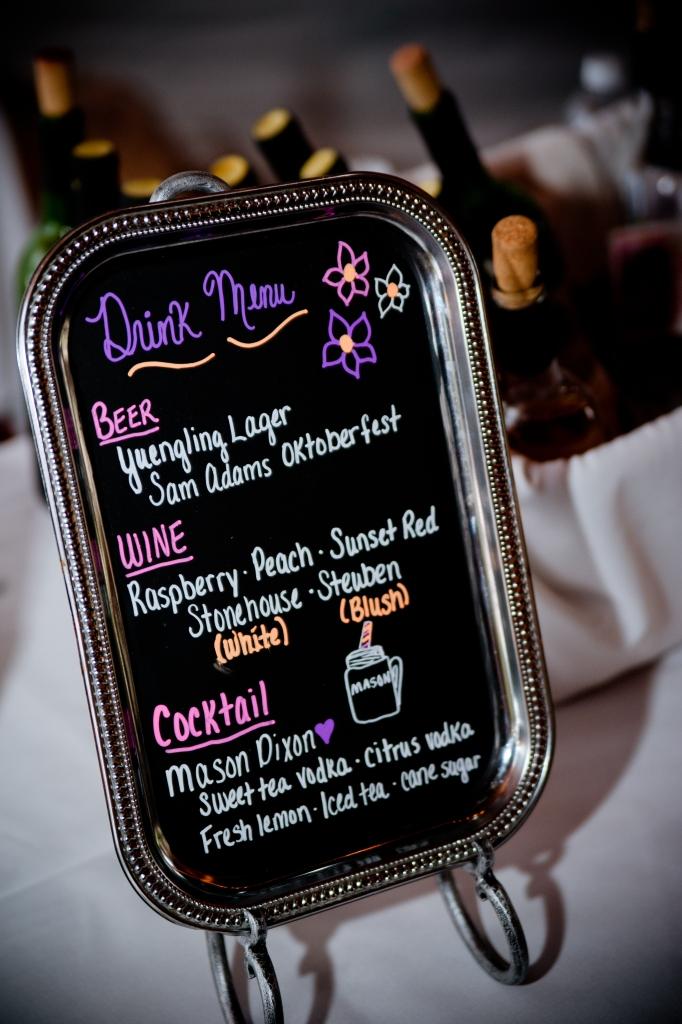 silver chalkboard tray drink menu