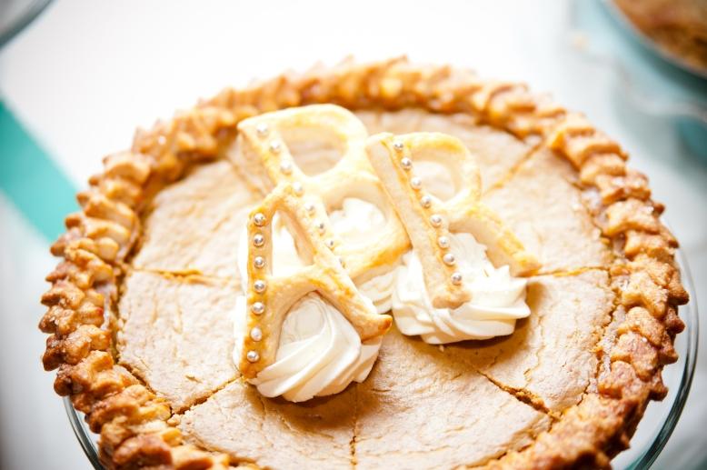 custom initial wedding pie