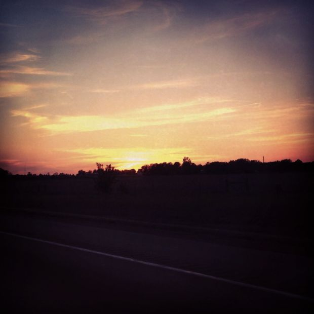 sunset while driving west