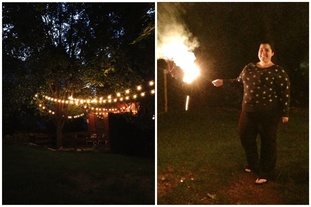 Backyard lights and sparklers | Sweet As a Peach