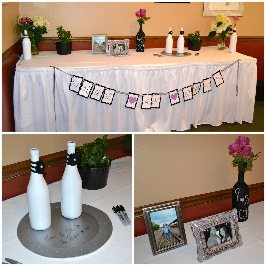 Black white and purple bridal shower life is sweet as a peach black and white wine themed bridal shower guest book table life is sweet as junglespirit