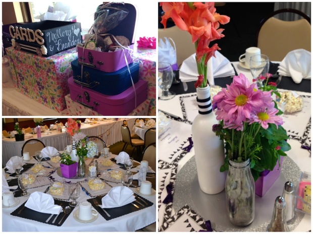 Black and White Bridal Shower Decorations, Table Centerpieces | Life Is Sweet as a Peach