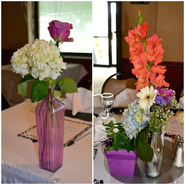 Purple Roses and White Hydrangea Bridal Shower Flowers in Glass Bottles | Life Is Sweet as a Peach