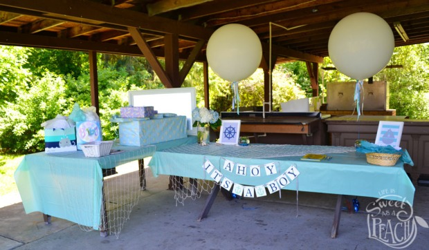 Ahoy It's a Boy Baby Shower Balloons and Gift Table | Life Is Sweet As A Peach