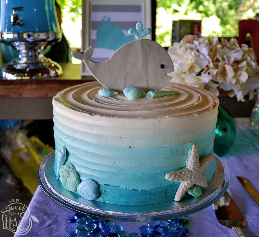 ahoy it 39 s a boy nautical baby shower cake with whale topper life is