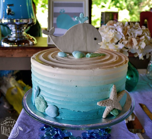 Ahoy It's a Boy Nautical Baby Shower Cake with Whale Topper | Life Is Sweet As A Peach