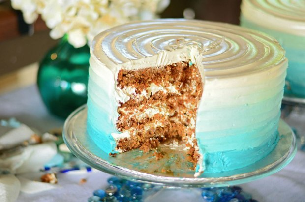 Nautical Blue Ombre Baby Shower Carrot Cake