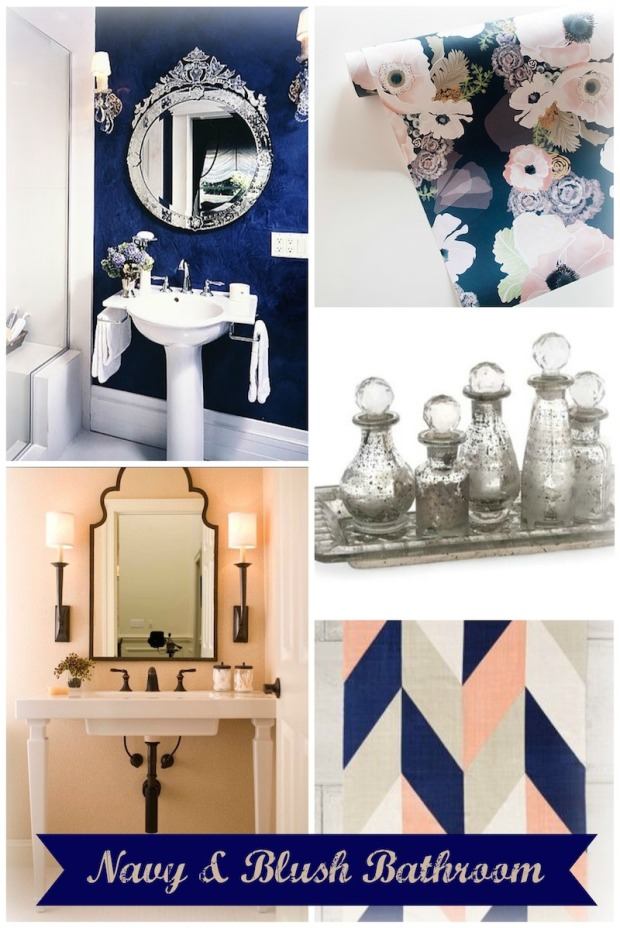 Navy and Blush Bathroom Remodel Inspiration Board | Life Is Sweet As A Peach