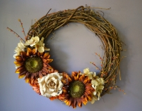 Fall Wreath - Sunflowers, Hydrangea, Rose