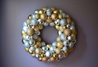 Silver and Gold Ornament Wreath Custom Etsy Order | Life Is Sweet As A Peach