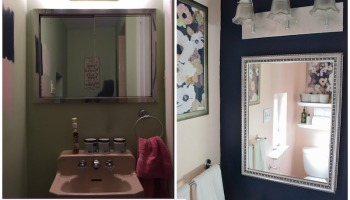 Small Bathroom Makeover Update New Paint Life Is Sweet As A Peach - Green tile bathroom makeover