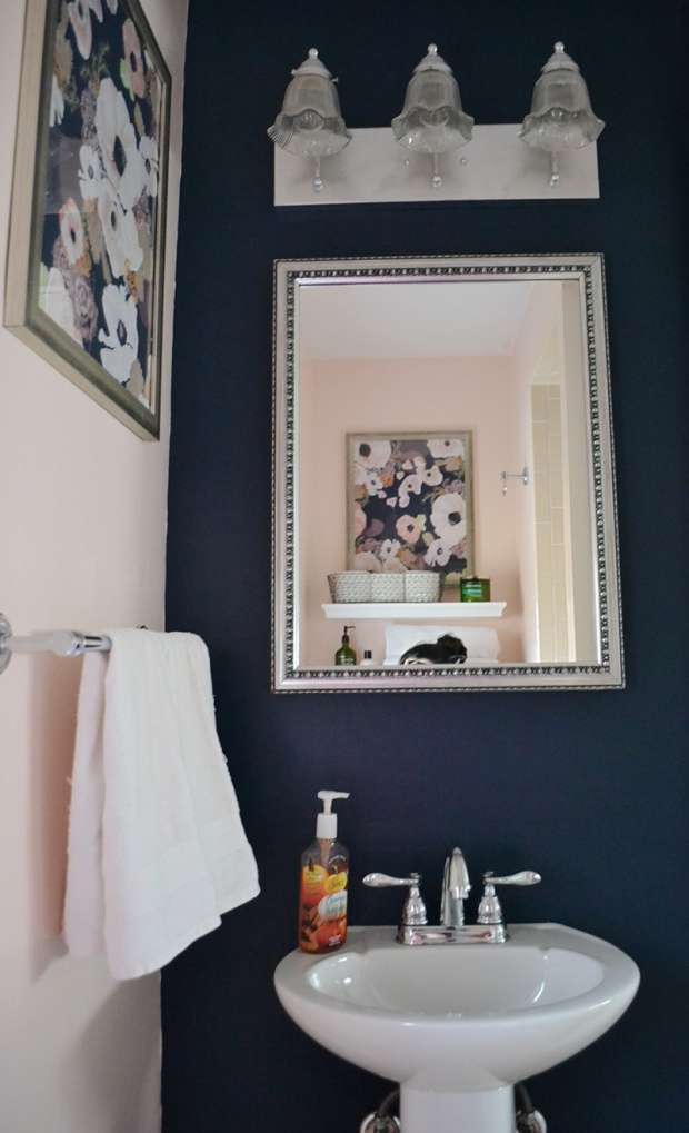 Navy Blue Bathroom with White Pedestal Sink | Life Is Sweet As A Peach