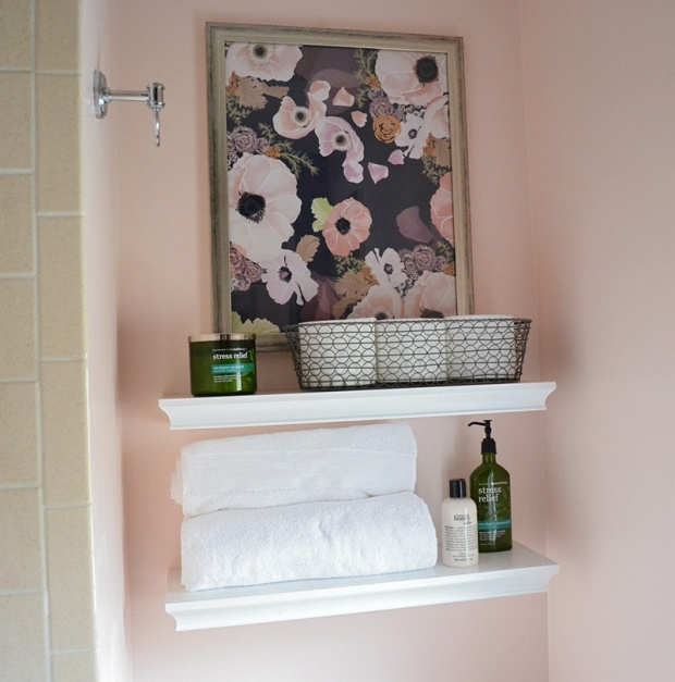 Shelves and Baskets Above Toilet in Bathroom | Life Is Sweet As A Peach