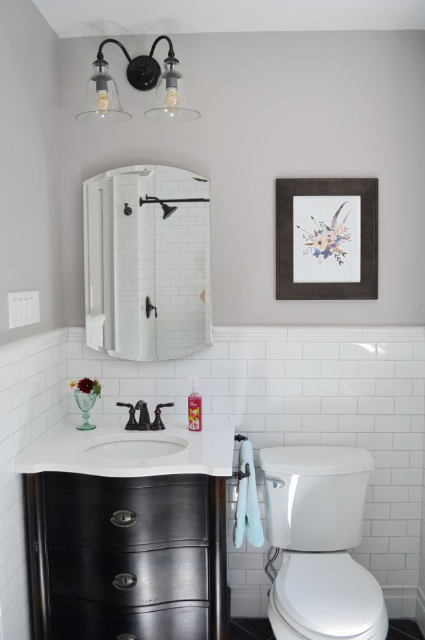 White Subway Tile Bathroom, Black Vanity | Life Is Sweet As A Peach