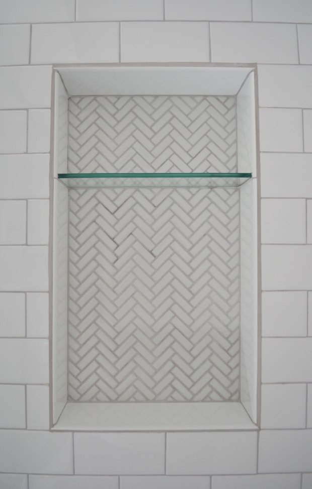 Herringbone Tile Shower Shelves | Life Is Sweet As A Peach