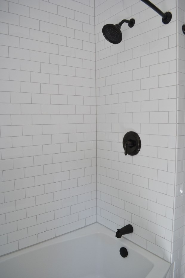 White Subway Tile Shower, Bronze Fixtures | Life Is Sweet As A Peach