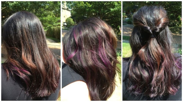 Purple Peekaboo Highlights in Dark Hair | Life Is Sweet As A Peach